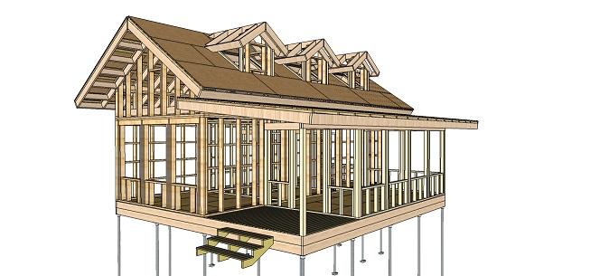 каркасный дом в 3D